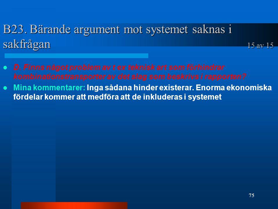 B23. Bärande argument mot systemet saknas i sakfrågan 15 av 15