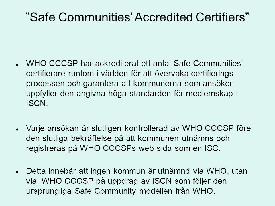 Safe Communities' Accredited Certifiers
