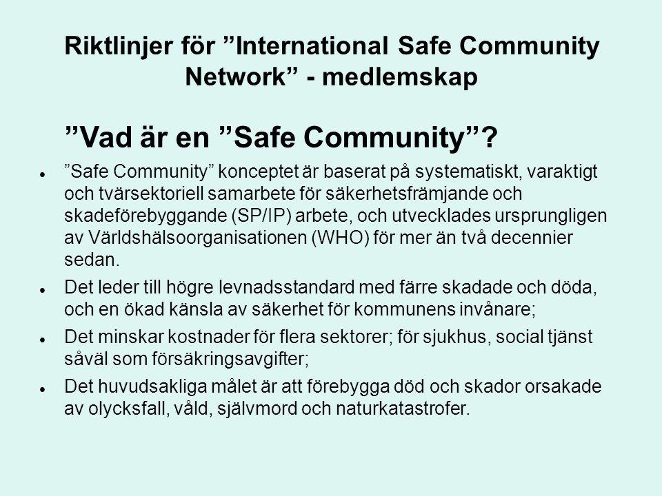 Riktlinjer för International Safe Community Network - medlemskap