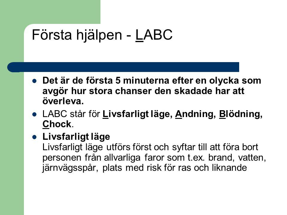 Första hjälpen - LABC Det är de första 5 minuterna efter en olycka som avgör hur stora chanser den skadade har att överleva.