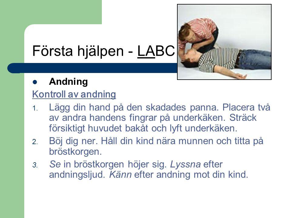 Första hjälpen - LABC Andning Kontroll av andning