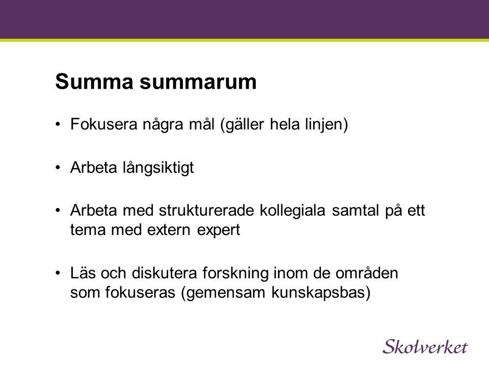 Summa summarum Fokusera några mål (gäller hela linjen)