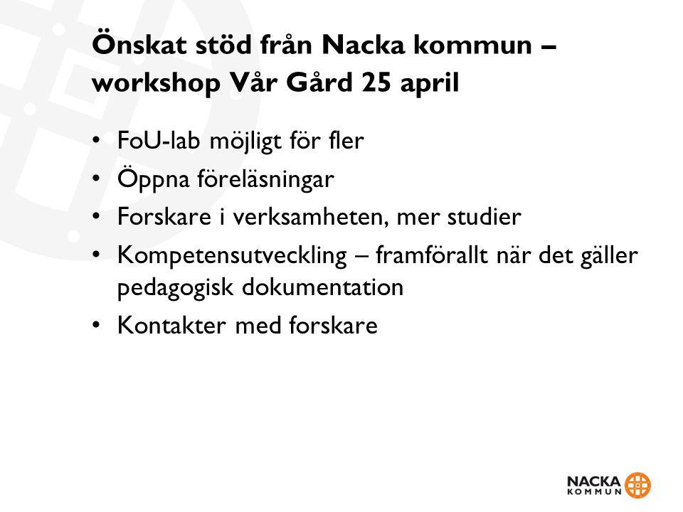 Önskat stöd från Nacka kommun – workshop Vår Gård 25 april