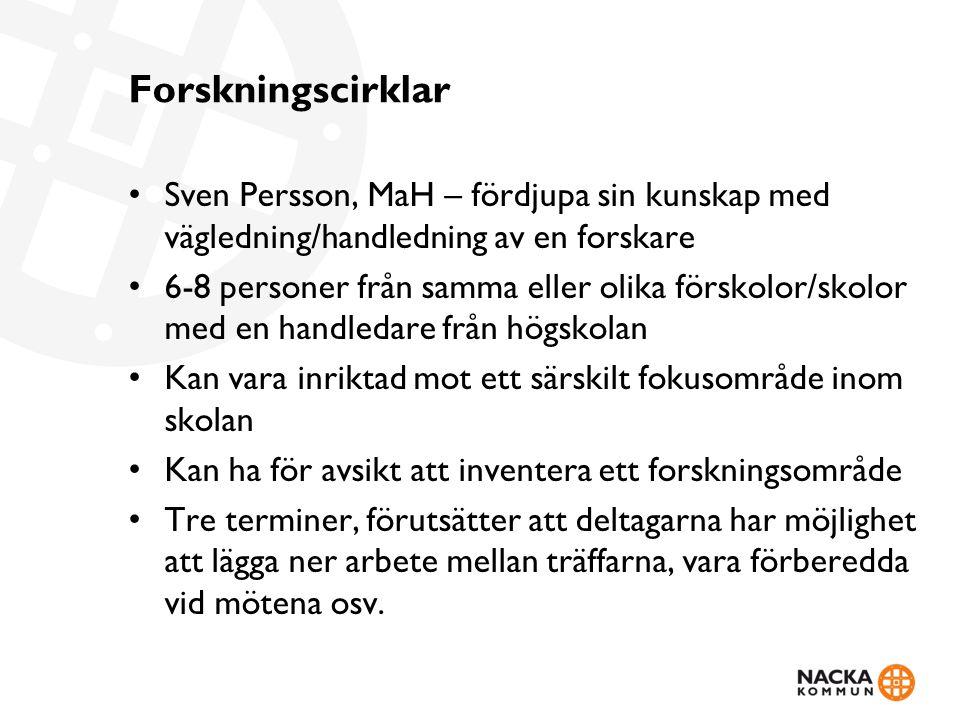 Forskningscirklar Sven Persson, MaH – fördjupa sin kunskap med vägledning/handledning av en forskare.