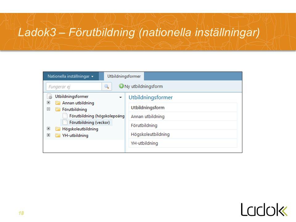 Ladok3 – Förutbildning (nationella inställningar)