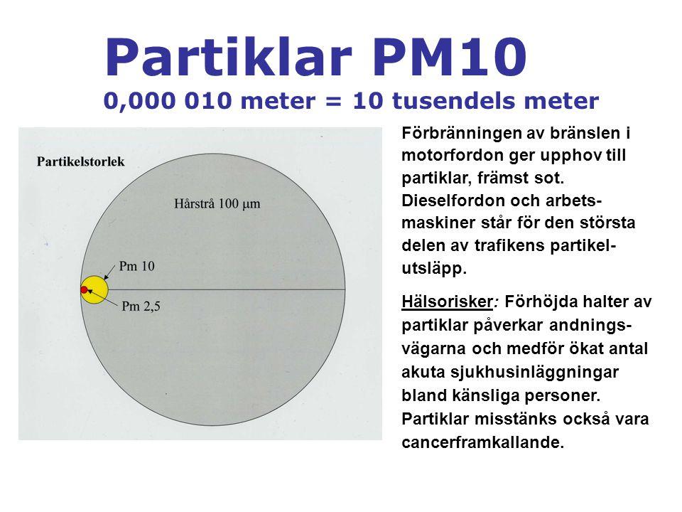 Partiklar PM10 0,000 010 meter = 10 tusendels meter