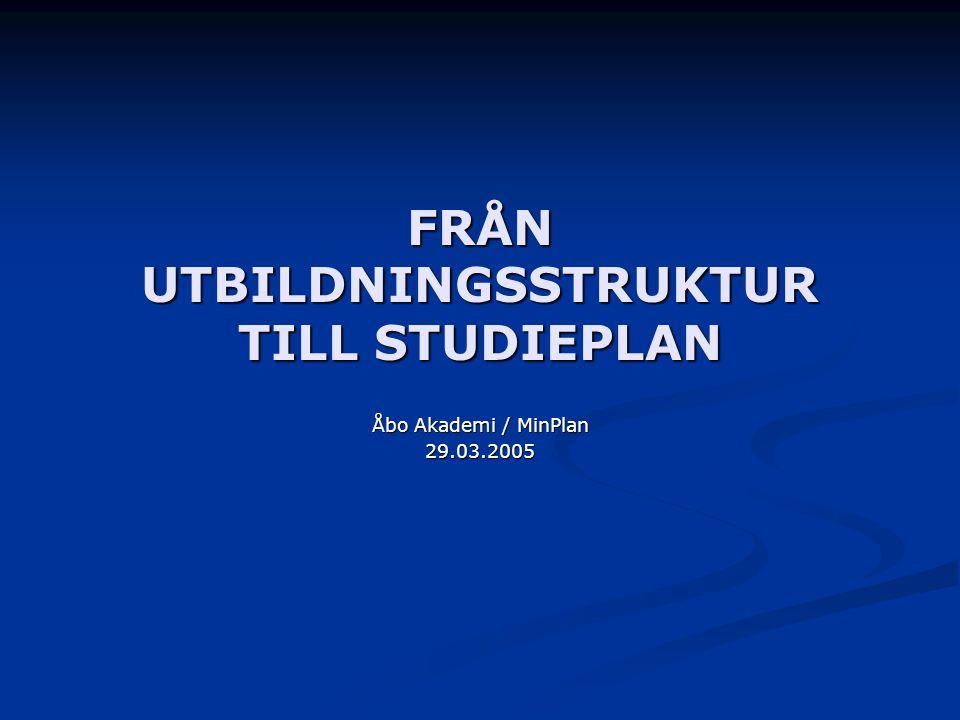 FRÅN UTBILDNINGSSTRUKTUR TILL STUDIEPLAN
