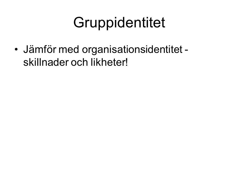 Gruppidentitet Jämför med organisationsidentitet - skillnader och likheter!