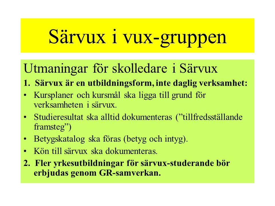Särvux i vux-gruppen Utmaningar för skolledare i Särvux
