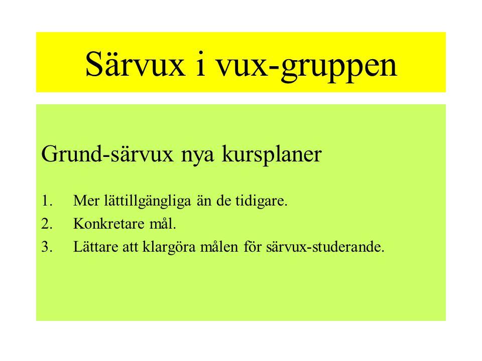 Särvux i vux-gruppen Grund-särvux nya kursplaner
