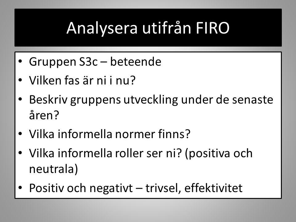 Analysera utifrån FIRO