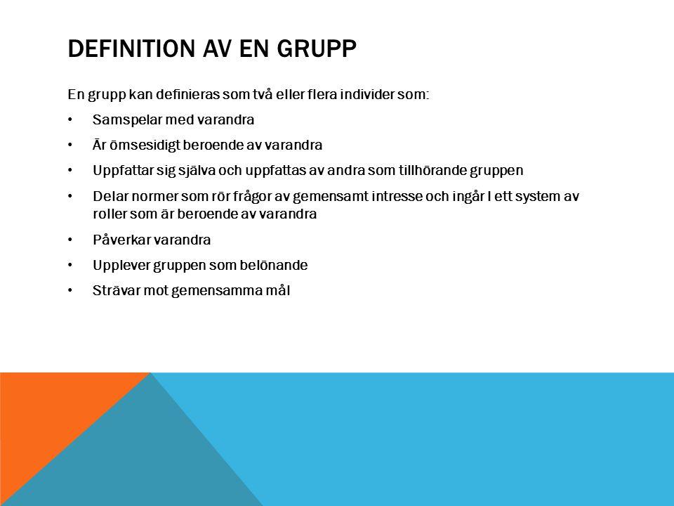 Definition av en Grupp En grupp kan definieras som två eller flera individer som: Samspelar med varandra.