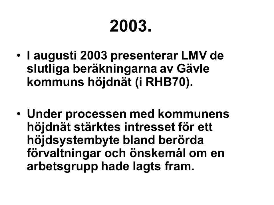 2003. I augusti 2003 presenterar LMV de slutliga beräkningarna av Gävle kommuns höjdnät (i RHB70).