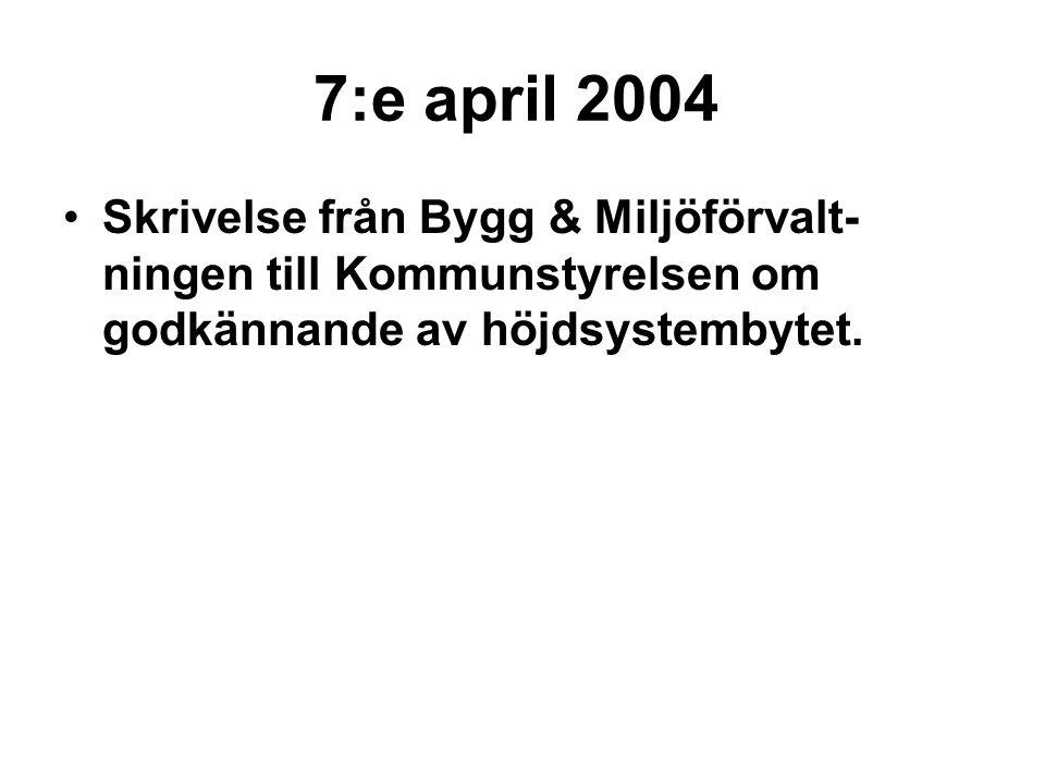 7:e april 2004 Skrivelse från Bygg & Miljöförvalt-ningen till Kommunstyrelsen om godkännande av höjdsystembytet.