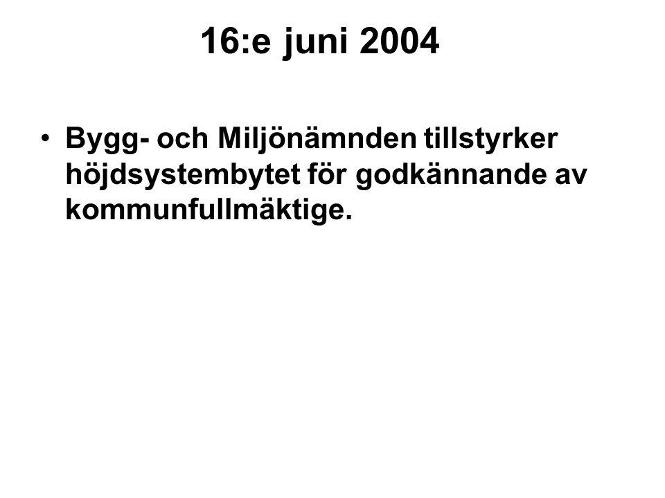 16:e juni 2004 Bygg- och Miljönämnden tillstyrker höjdsystembytet för godkännande av kommunfullmäktige.