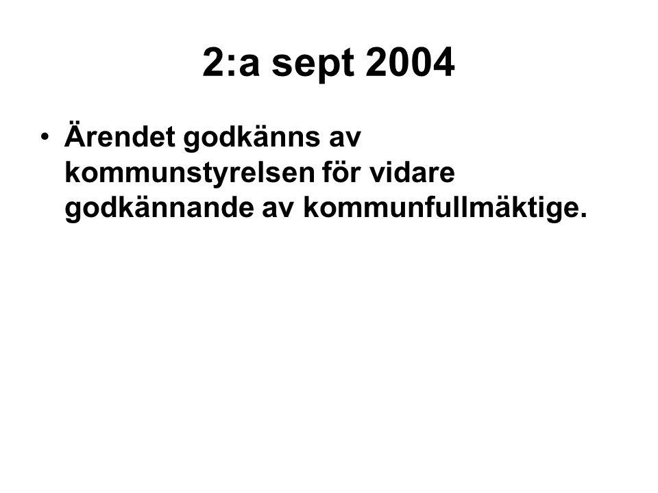 2:a sept 2004 Ärendet godkänns av kommunstyrelsen för vidare godkännande av kommunfullmäktige.