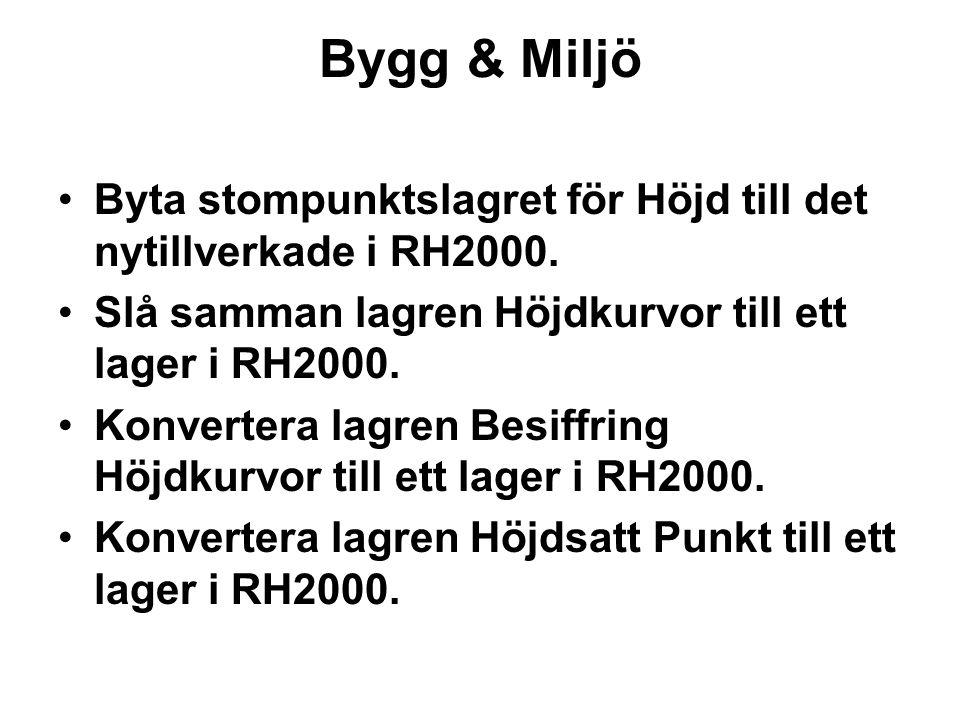 Bygg & Miljö Byta stompunktslagret för Höjd till det nytillverkade i RH2000. Slå samman lagren Höjdkurvor till ett lager i RH2000.