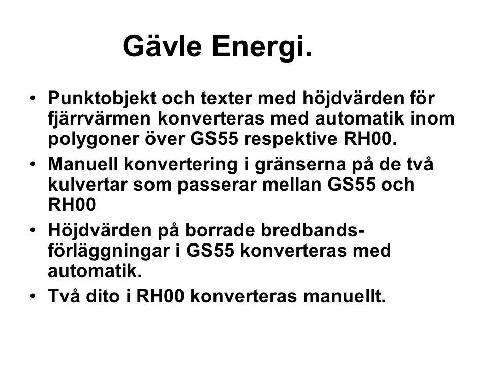 Gävle Energi. Punktobjekt och texter med höjdvärden för fjärrvärmen konverteras med automatik inom polygoner över GS55 respektive RH00.