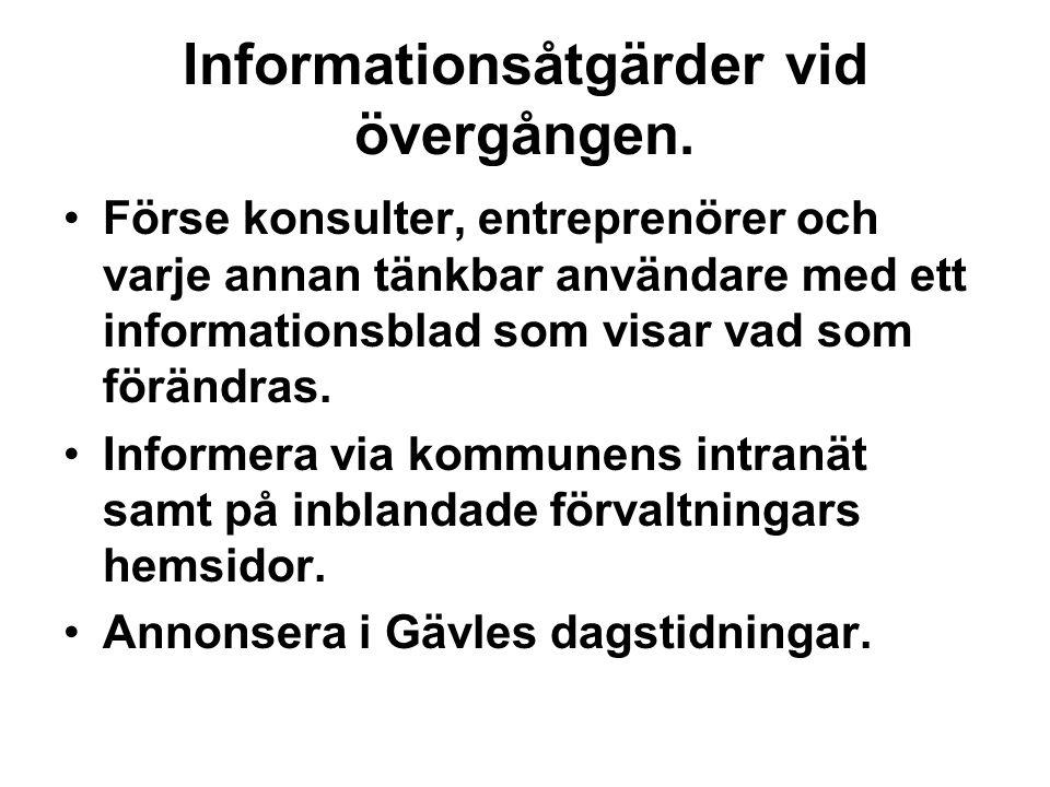 Informationsåtgärder vid övergången.