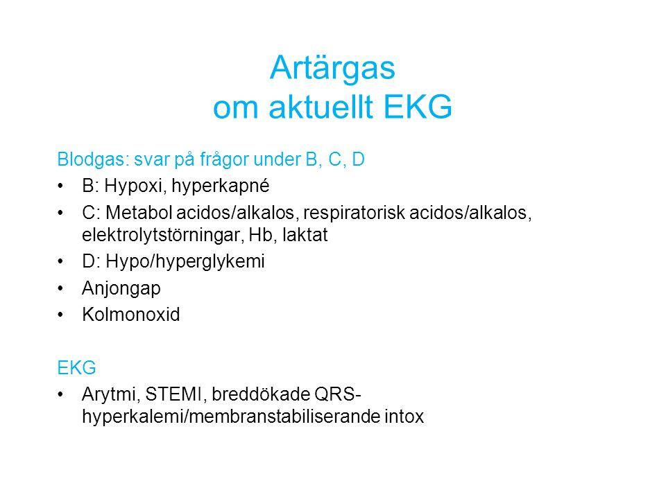 Artärgas om aktuellt EKG