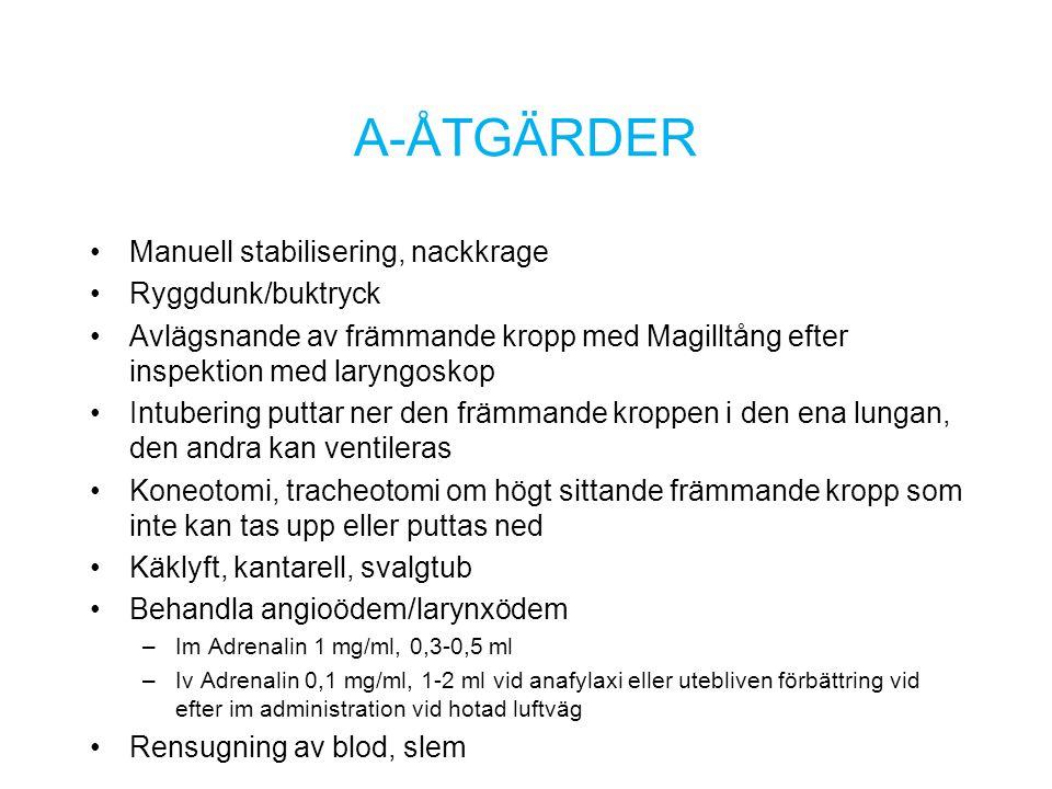 A-ÅTGÄRDER Manuell stabilisering, nackkrage Ryggdunk/buktryck