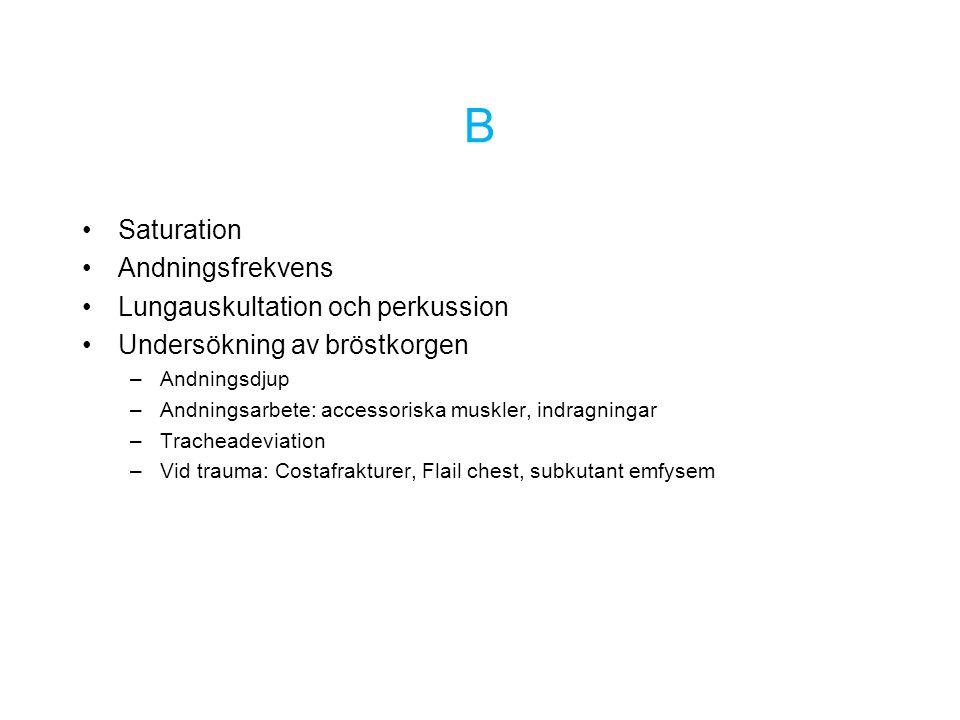 B Saturation Andningsfrekvens Lungauskultation och perkussion