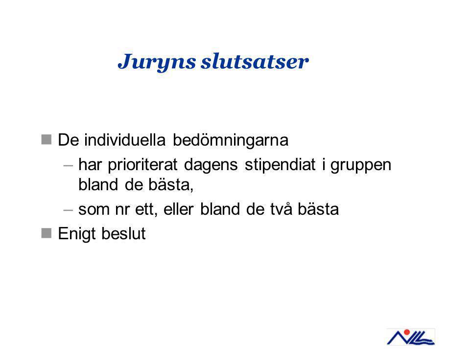 Juryns slutsatser De individuella bedömningarna