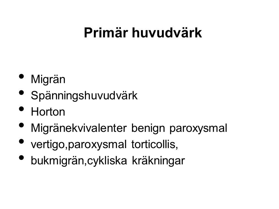 Primär huvudvärk Migrän Spänningshuvudvärk Horton