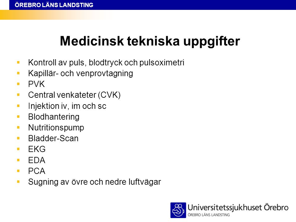 Medicinsk tekniska uppgifter