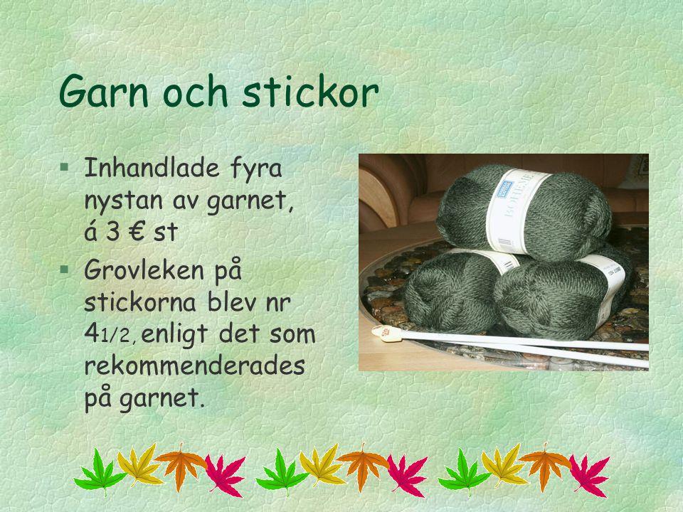 Garn och stickor Inhandlade fyra nystan av garnet, á 3 € st