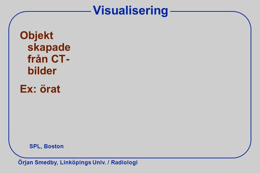Visualisering Objekt skapade från CT-bilder Ex: örat SPL, Boston