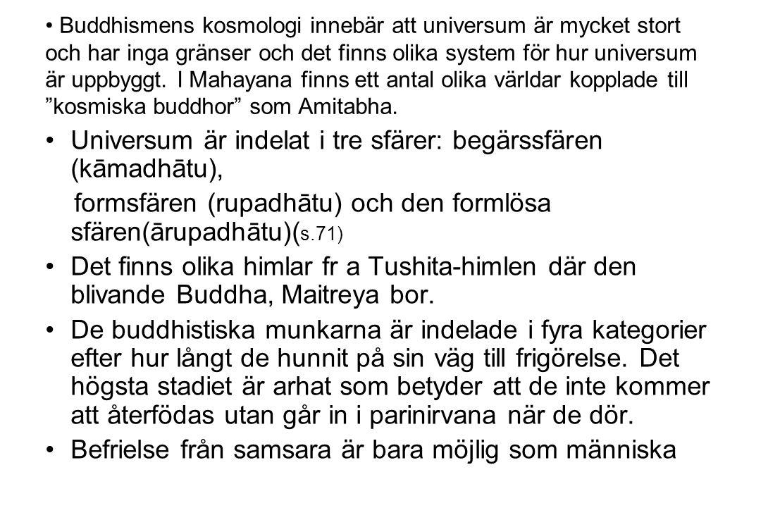 Universum är indelat i tre sfärer: begärssfären (kāmadhātu),