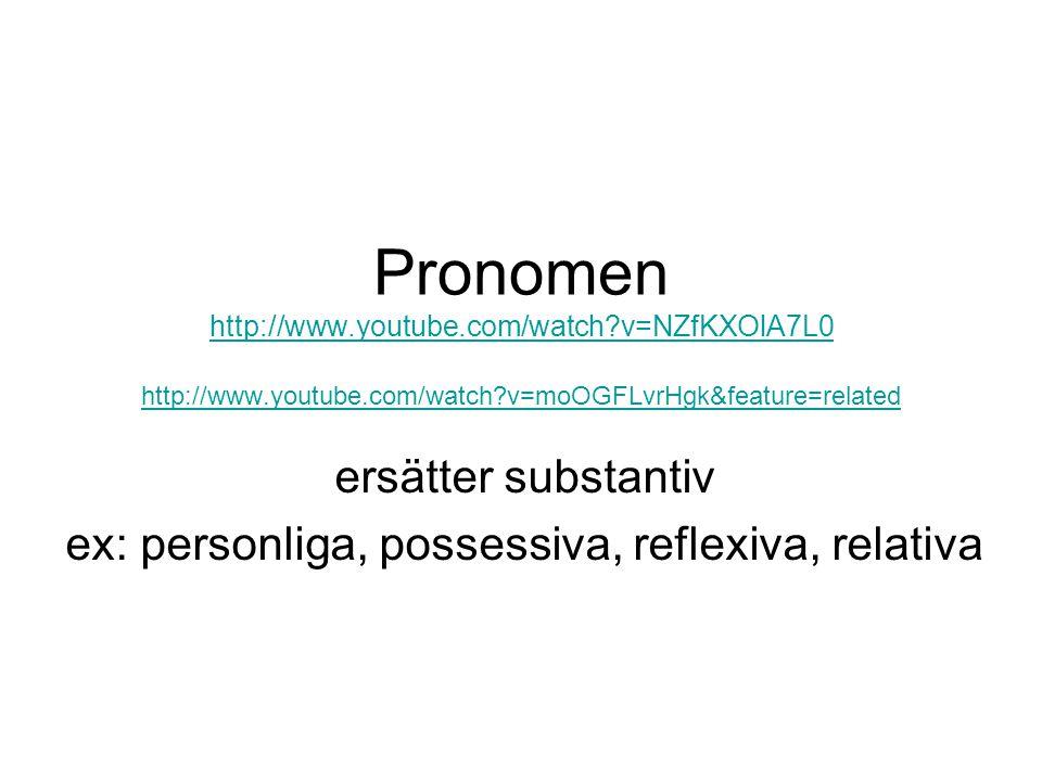 ersätter substantiv ex: personliga, possessiva, reflexiva, relativa