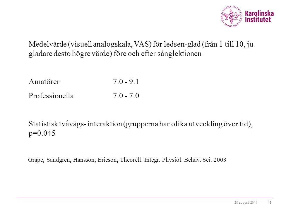 Medelvärde (visuell analogskala, VAS) för ledsen-glad (från 1 till 10, ju gladare desto högre värde) före och efter sånglektionen