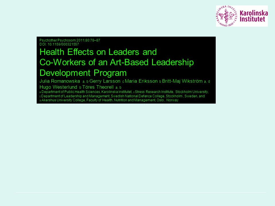 Health Effects on Leaders and Co-Workers of an Art-Based Leadership