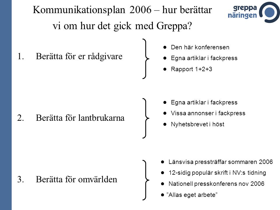 Kommunikationsplan 2006 – hur berättar vi om hur det gick med Greppa