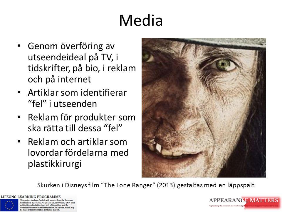 Media Genom överföring av utseendeideal på TV, i tidskrifter, på bio, i reklam och på internet. Artiklar som identifierar fel i utseenden.