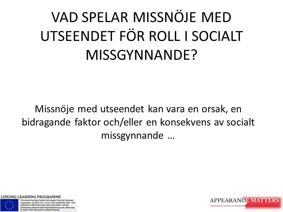 VAD SPELAR MISSNÖJE MED UTSEENDET FÖR ROLL I SOCIALT MISSGYNNANDE