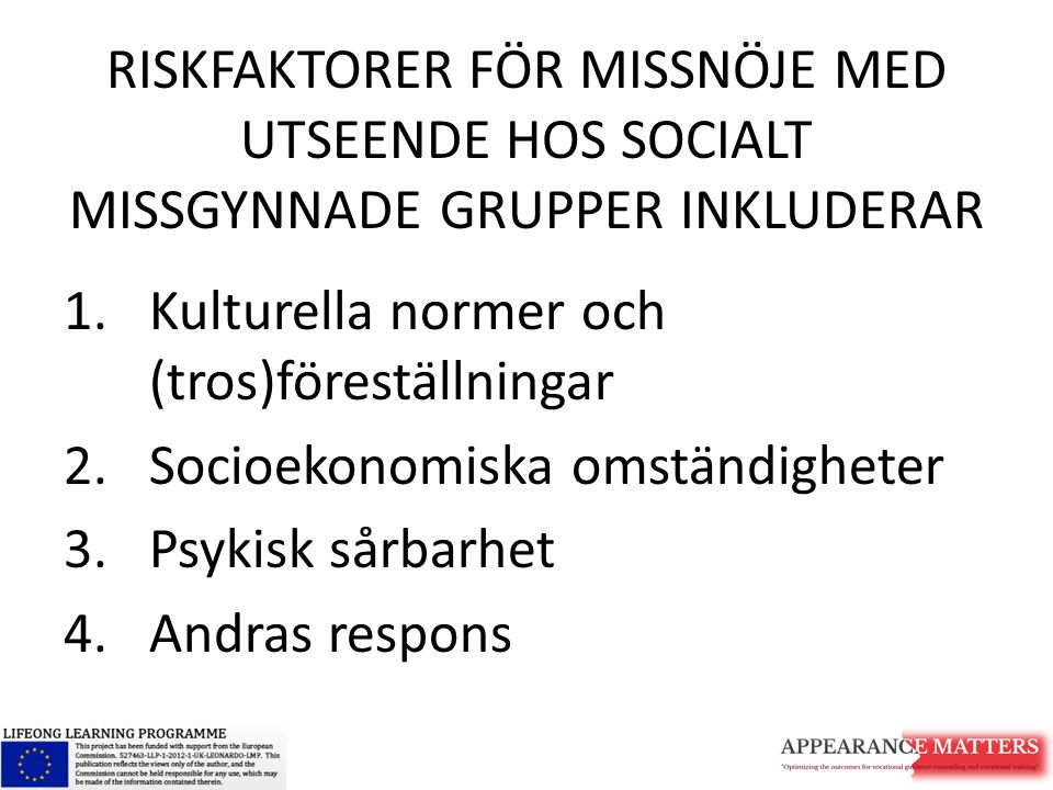 RISKFAKTORER FÖR MISSNÖJE MED UTSEENDE HOS SOCIALT MISSGYNNADE GRUPPER INKLUDERAR