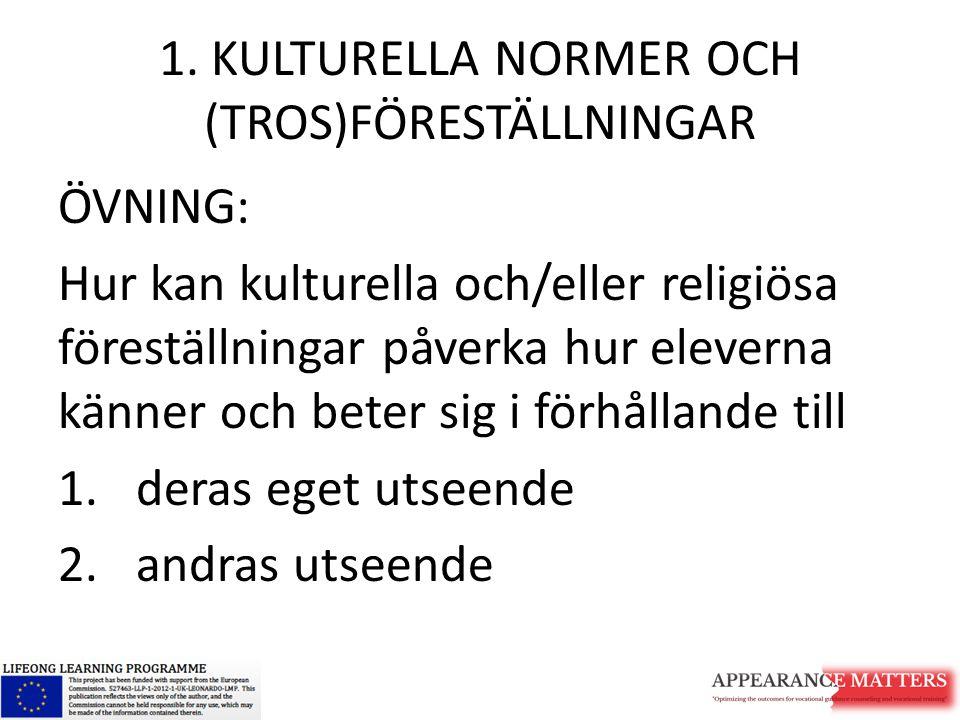 1. KULTURELLA NORMER OCH (TROS)FÖRESTÄLLNINGAR