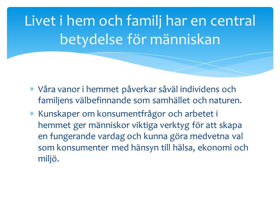 Livet i hem och familj har en central betydelse för människan