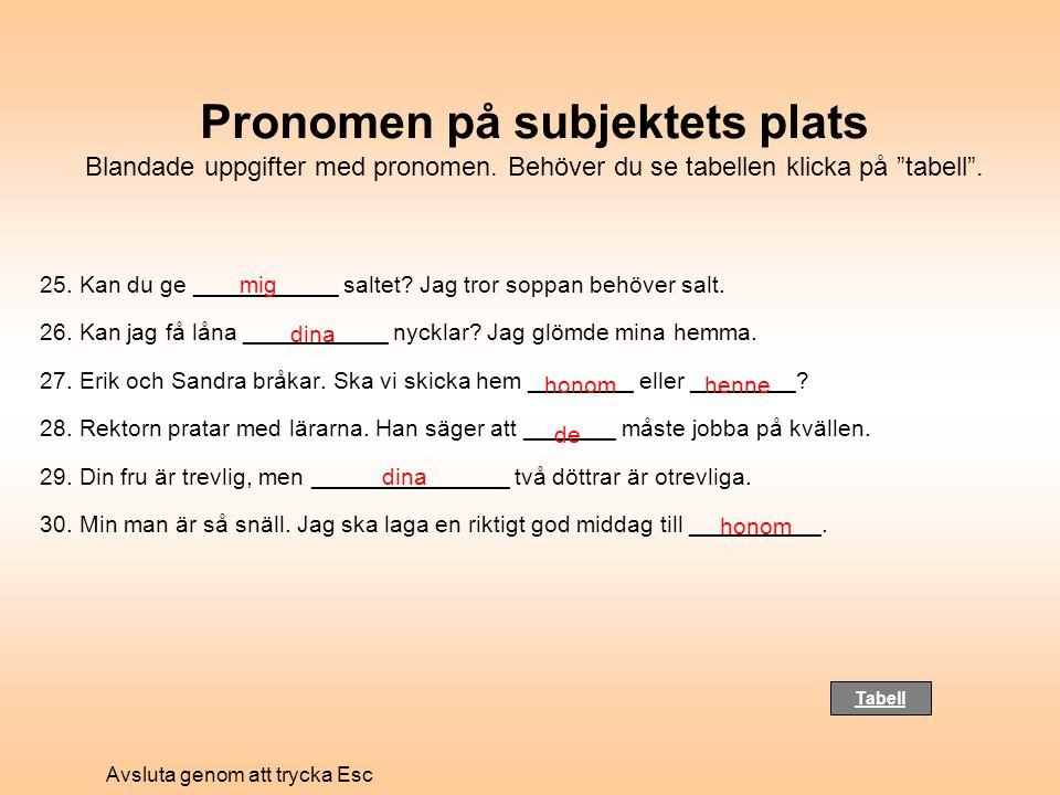 Pronomen på subjektets plats Blandade uppgifter med pronomen