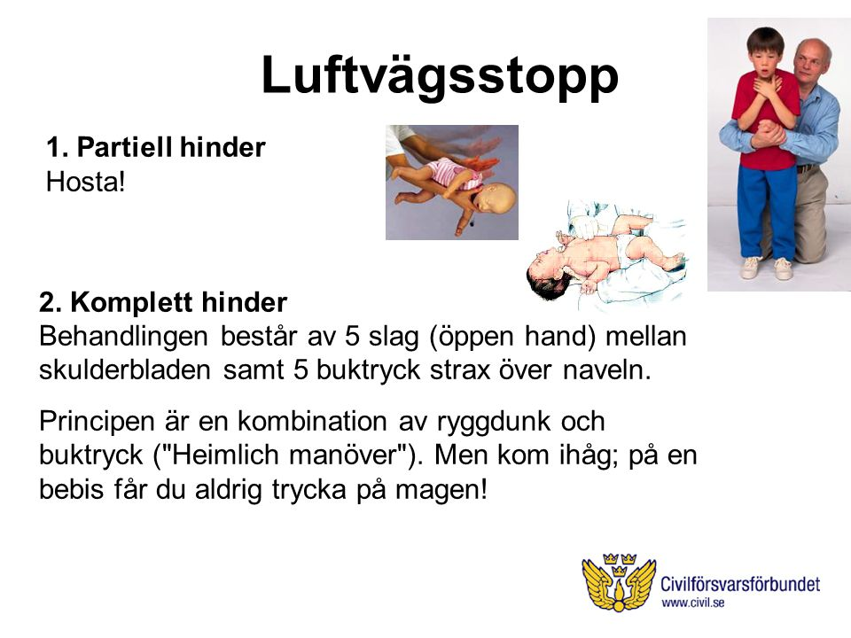 Luftvägsstopp 1. Partiell hinder Hosta! 2. Komplett hinder