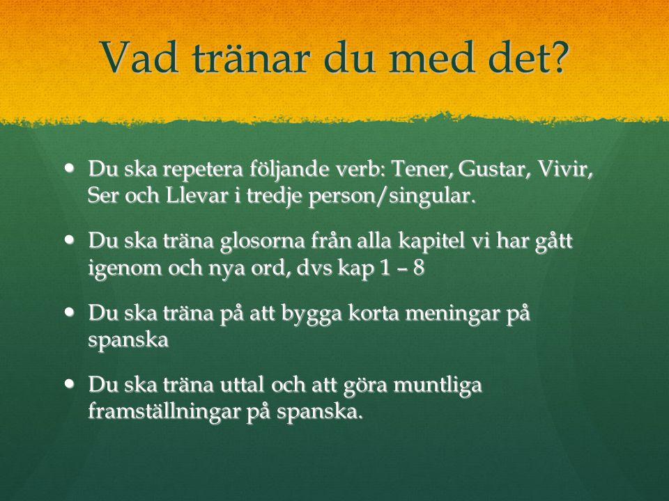 Vad tränar du med det Du ska repetera följande verb: Tener, Gustar, Vivir, Ser och Llevar i tredje person/singular.