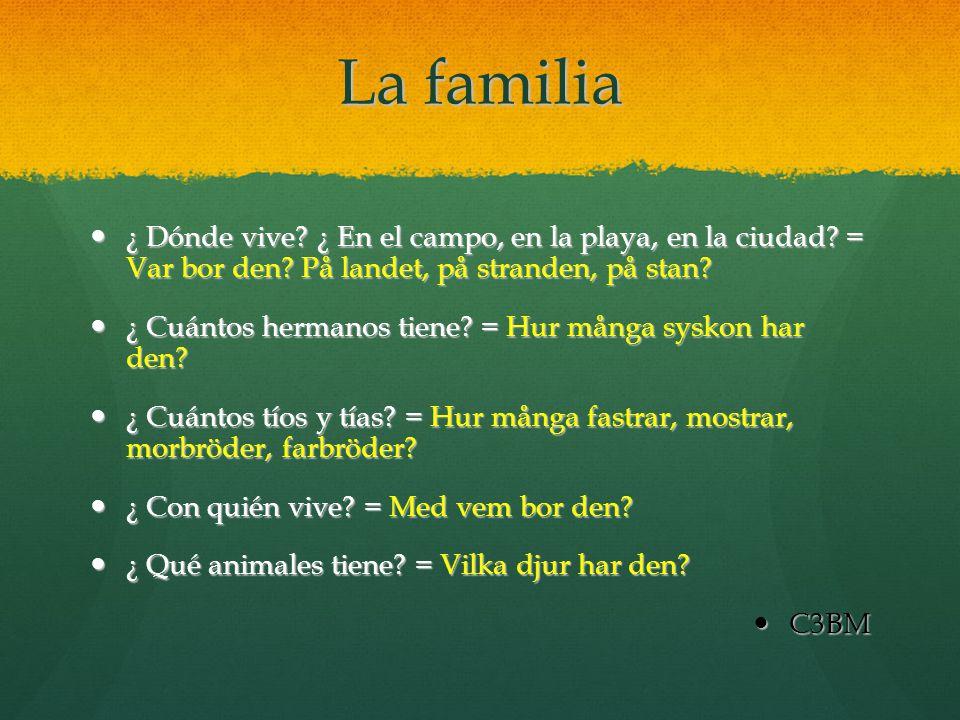 La familia ¿ Dónde vive ¿ En el campo, en la playa, en la ciudad = Var bor den På landet, på stranden, på stan