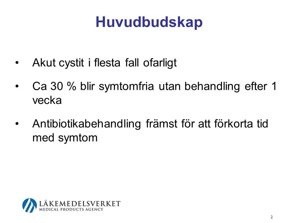 Huvudbudskap Akut cystit i flesta fall ofarligt