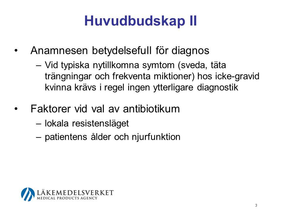 Huvudbudskap II Anamnesen betydelsefull för diagnos