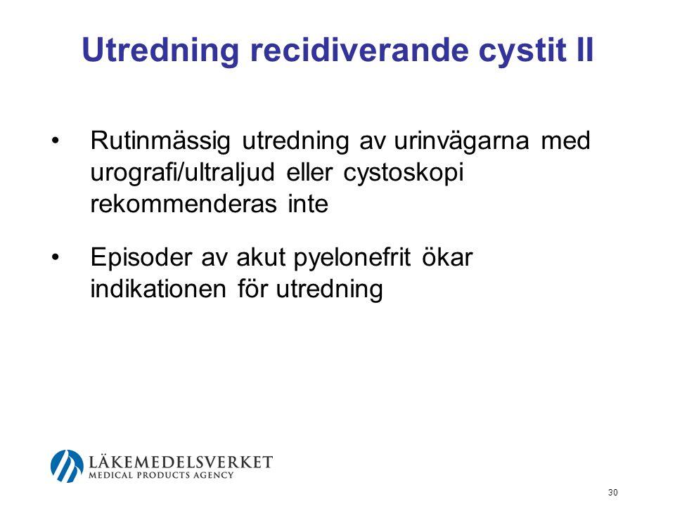 Utredning recidiverande cystit II