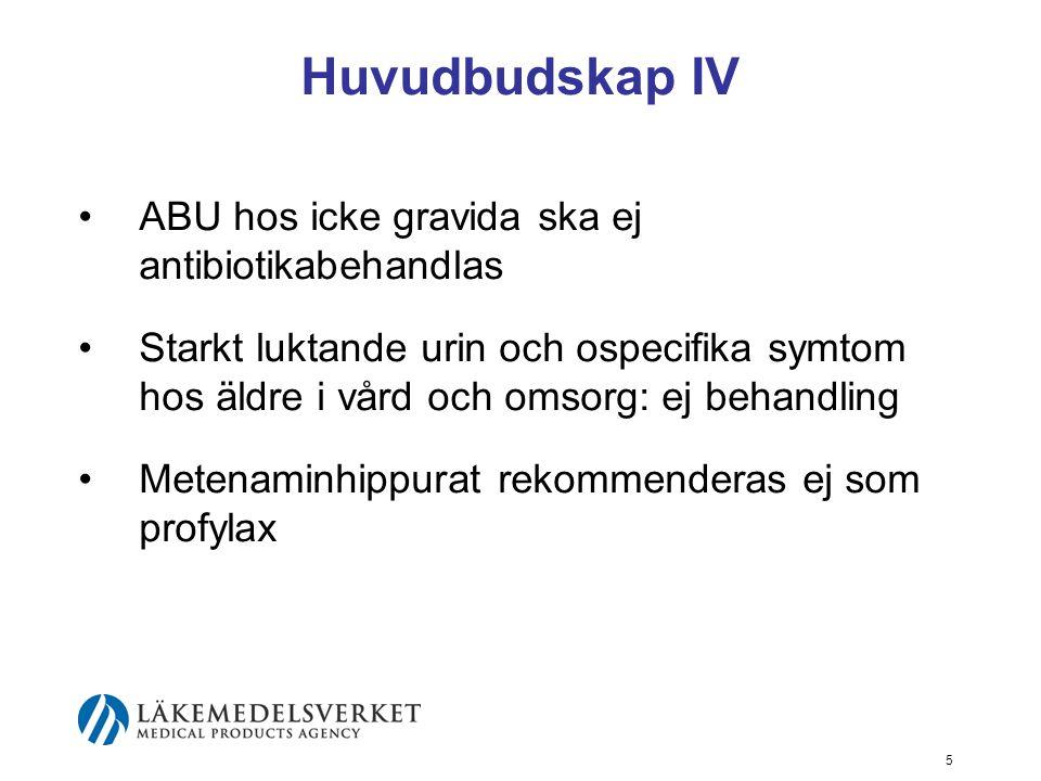 Huvudbudskap IV ABU hos icke gravida ska ej antibiotikabehandlas