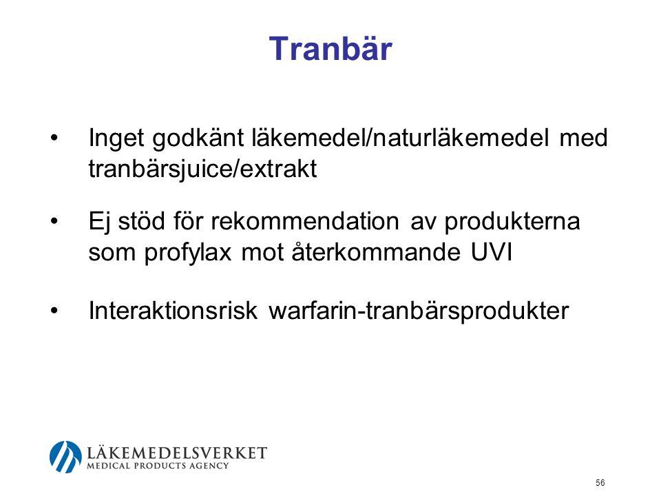 Tranbär Inget godkänt läkemedel/naturläkemedel med tranbärsjuice/extrakt.